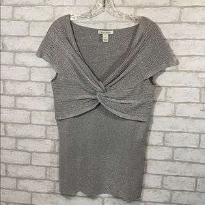 White House black market silver knitted blouse L